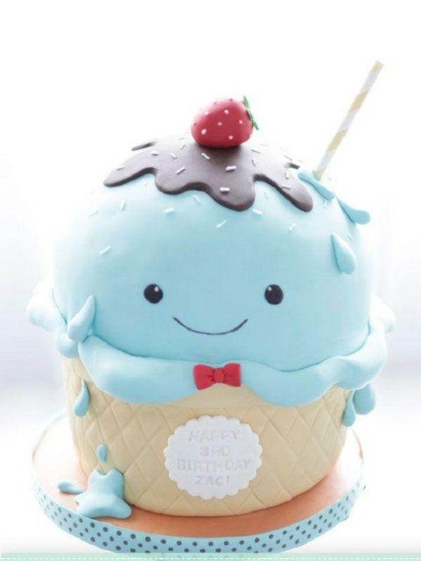 idée de gâteau anniversaire unisexe en forme de glace