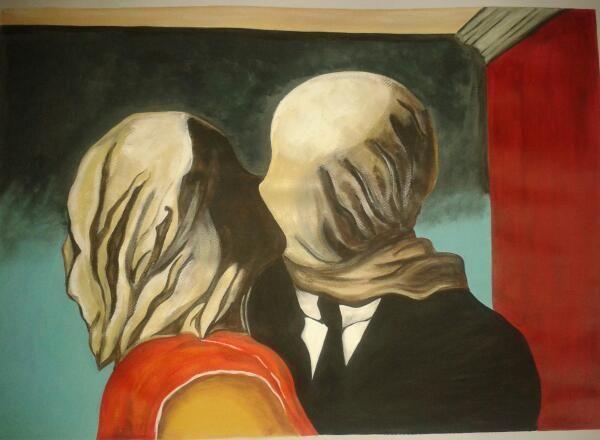 Los Amantes (rene Magritte)  realizado con pintura acrílica.