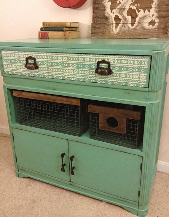 Rustic Turquoise and White Southwestern by FurnitureAlchemy