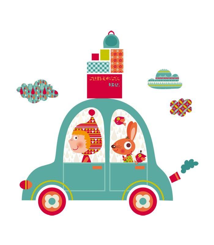 vinilo infantil de tela coche viaje 1