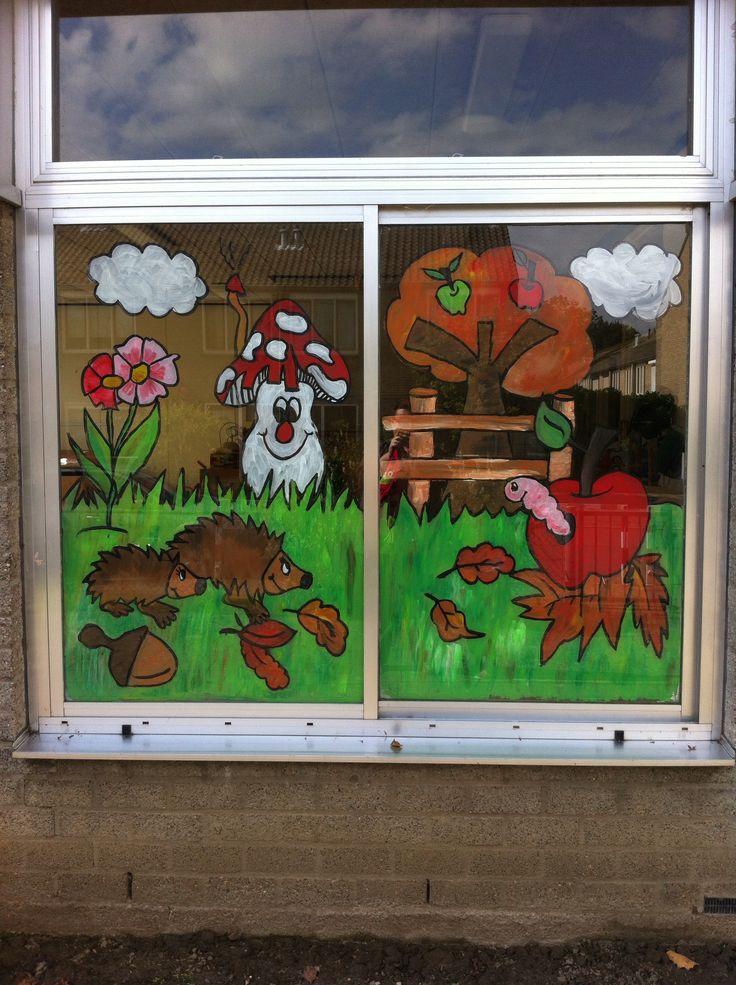 Raamschildering herfst ( appel, egel, paddestoel ) voor peuters