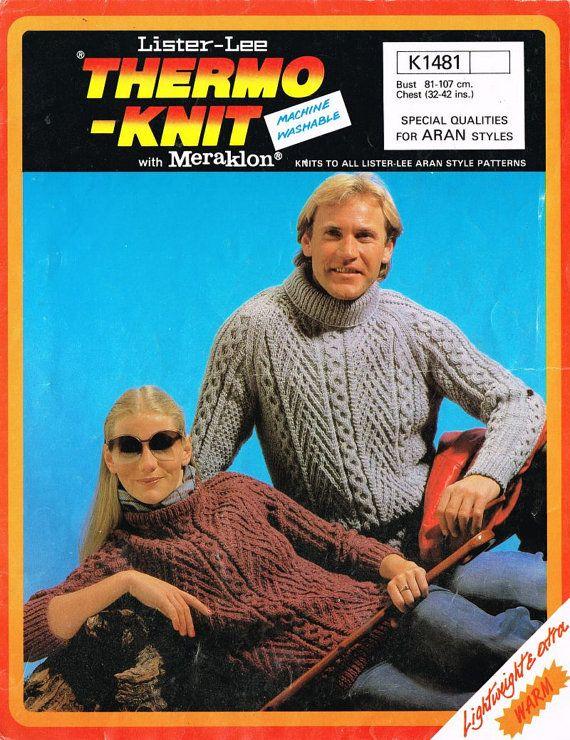 Lister 1481 adult aran jumper vintage knitting by Ellisadine, £1.15