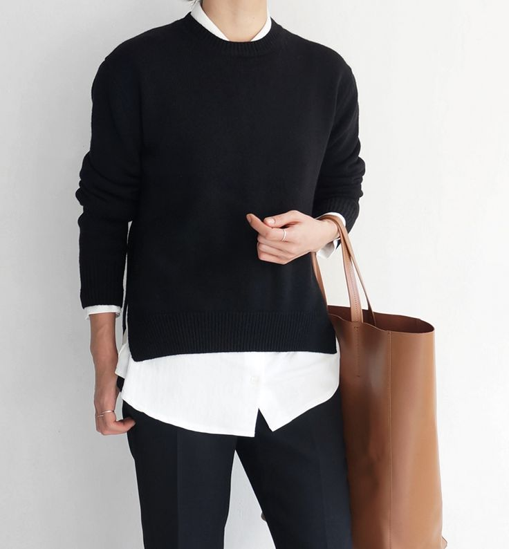 LOVE! Black sweater, white blouse, black jeans, minimalistic bag - Death by Elocution
