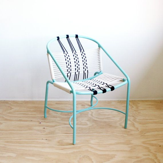 Rope Woven Chair Aqua Metal Chair Mid by iheartnorwegianwood