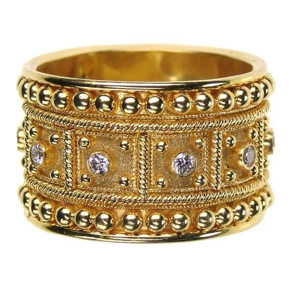 Traditional Greek block ring in gold with diamond. For more beautiful gold rings with diamonds and other gemstones see Athena's Treasures.