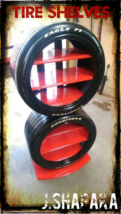 Made out of my old vette tires, white lettered by hand, and then cut/routed/sanded/painted the base and shelves. Stabilized by two 1x4's in the back and harbor freight wheel chocks on the base to bottom tire. Also, fitting the shelves inside the tire requires cutting slots in the backs of the tires with a cut off wheel