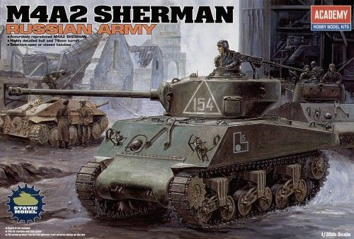 M4A2 Sherman, Late Version, Russian Army. Academy, 1/35, injection, No.13010. Price: 20,26 GBP.