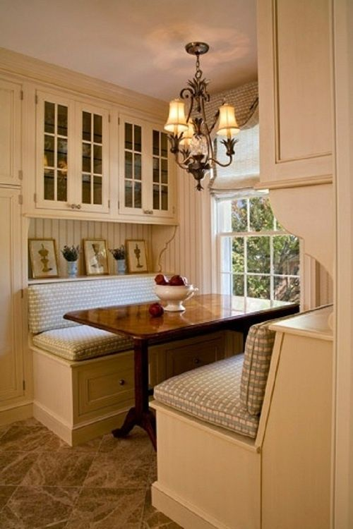kitchen. bench seat. light. cabinets