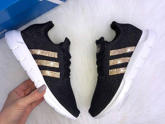 d9c032cf2eb34 Bling Adidas Gold Swarovski Crystal Black Adidas Swift Run Women s Casual  Shoes