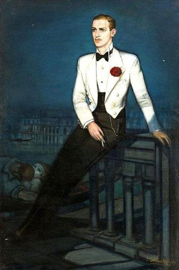 Douglas Fairbanks Jr. FEDERICO BELTRÁN MASSES. GUAIRA DE LA MELENA (1885-1949). 1932. Óleo sobre lienzo, 196 x 130 cm. - Colección Particular.  En este retrato, Douglas lleva un esmoquin blanco corto, un clavel rojo en el ojal y sostiene un cigarrillo en su mano derecha. Se apoya en un balcón con vistas a un paisaje veneciano indeterminado. En una góndola detrás de él una pareja se abraza.  La estrella de cine joven y guapo, delgado y de ojos azules, luce un bigote bien recortado.