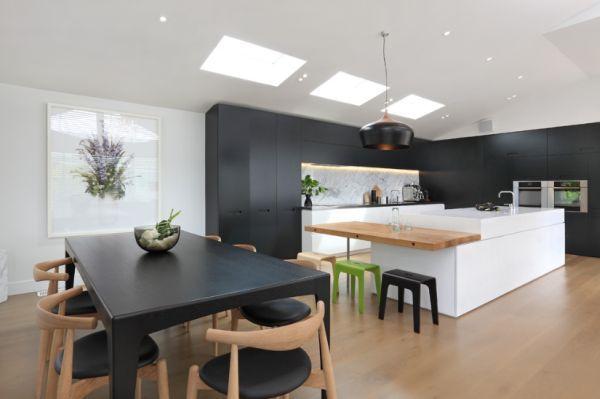 modern-kitchen-island15: Kitchens Design, Contemporary Kitchens, Black And White, Kitchens Islands, Black White, Black Kitchens, Jessop Architects, Modern Kitchens, White Kitchens