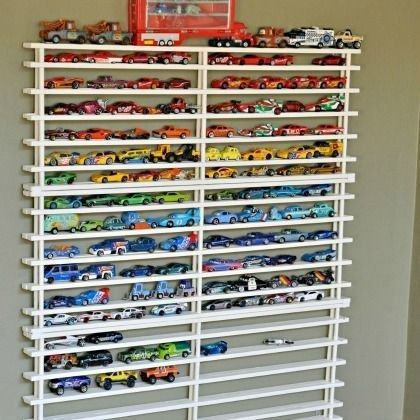 Organize their car collections. | 49 Clever Storage Solutions For Living With Kids