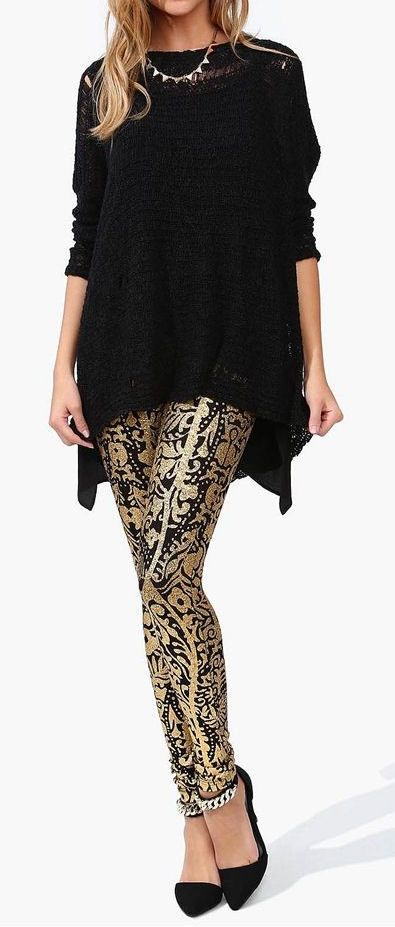 Solid Gold Legging - love this with a black top and heels for an evening event but would look great with a denim shirt and flats for daytime.