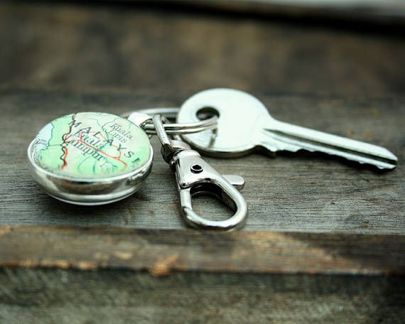 Double Sided Map Keyring