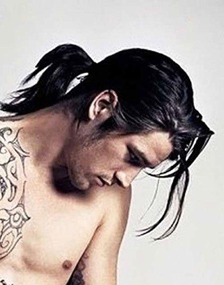 20 beliebte Männer lange Pferdeschwanz, Glattes Haar, Lang, Pferdeschwanz, Männer, Pferdeschwanz, Kunst