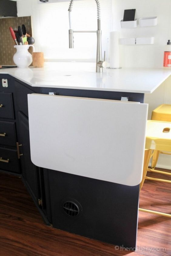 fold up for extra counter space, fold down for extra living space