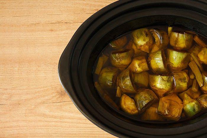 Crockpotting | Receta de alcachofas confitadas en Crock Pot | http://www.crockpotting.es