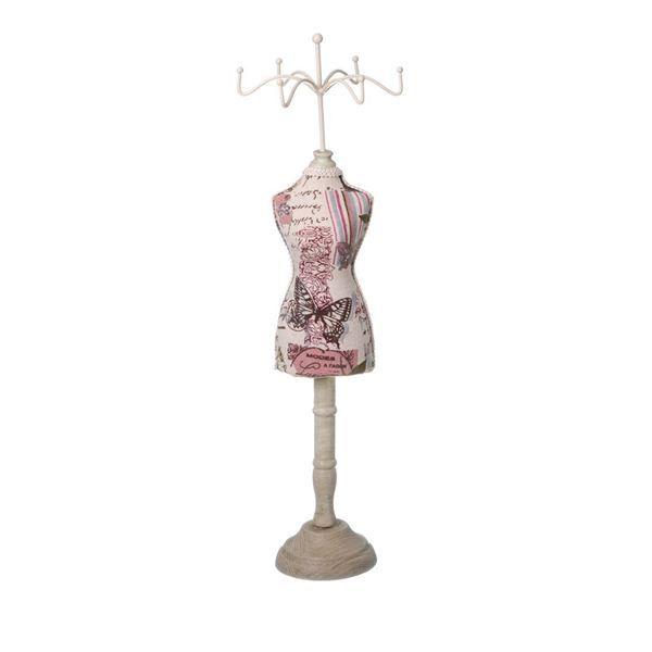 Suport pentru bijuterii bratari, inele, cercei, din lemn si material textil, dimensiune, inaltime 39.5 cm