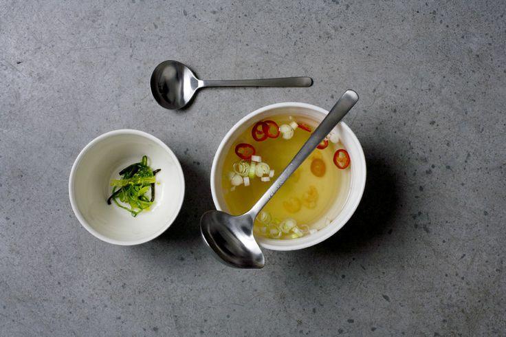 Soup served with Kay Bojesen Grand Prix gravy spoon and soup spoon. Kay Bojesen's Grand Prix cutlery, crafted in 1938.  Kay Bojesen Grand Prix cutlery/flatware