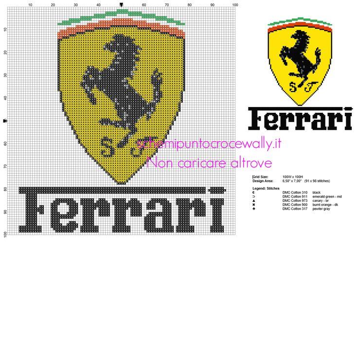 Marchio logo Ferrari schema punto croce da ricamare gratis PcStitch