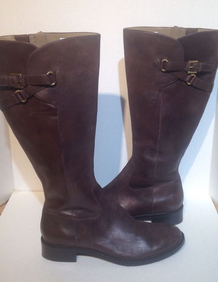 ECCO Women's Brown Buckle Knee High Leather Boots Size 41 US 10