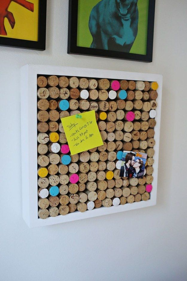 Use your wine cork collection as a bulletin board. | 27 Awesome DIY Projects For People Who Love To Drink