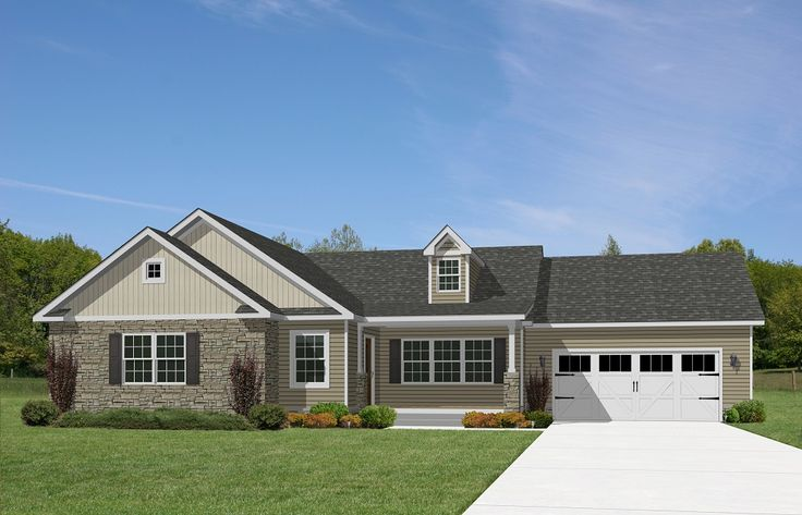 21 best images about exterior of modular homes on for Ranch style house plans with attached garage