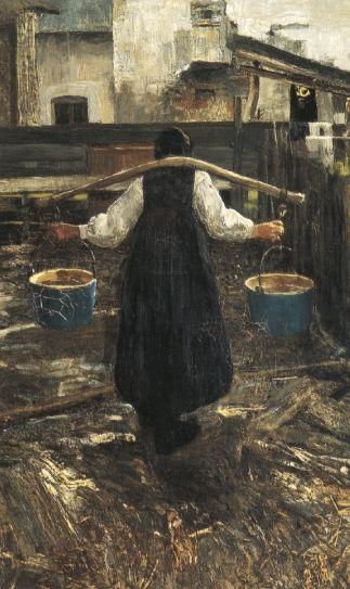 Giovanni Segantini, LA PORTATRICE D'ACQUA, 1887, Olio su tela, cm 74x45,5, Wandenswil (Zurigo) collezione privata