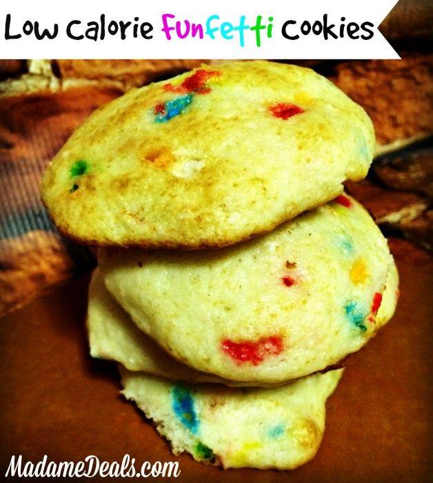 This is a super easy recipe for low calorie funfetti cookies! This 3 ingredients easy cookie recipes for kids has 3 steps, and 1 yummy guilt free cookie!