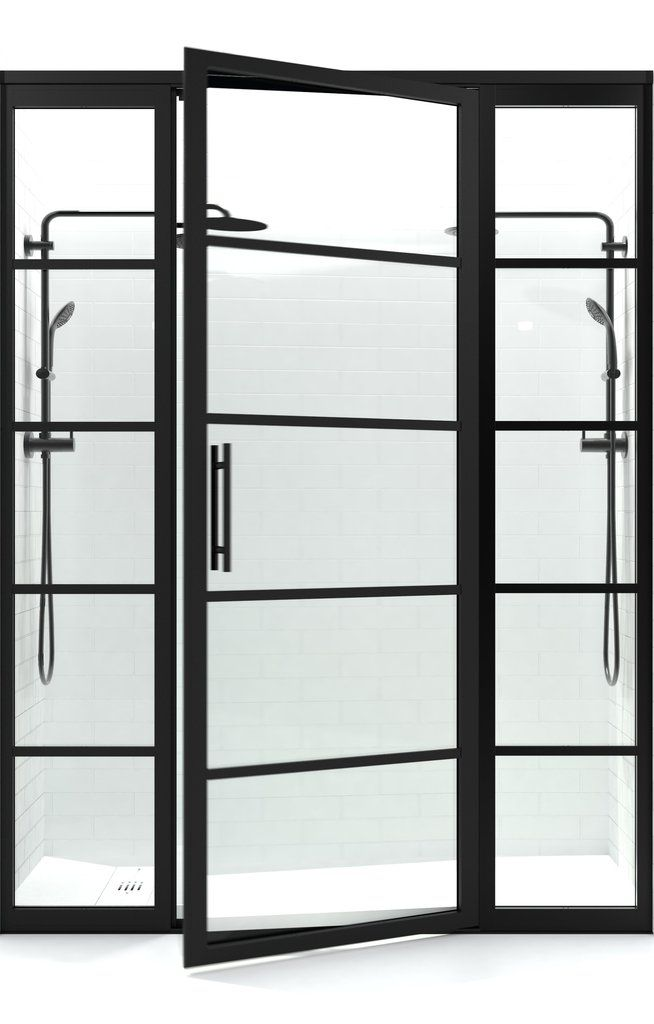 Gridscape Gs2 Swing Shower Door With 2 Side Panels In Black With Clear Divided Style Shower Doors Gridscape Panel Siding