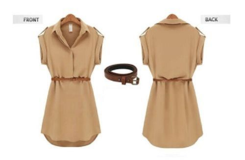 Women-Short-Sleeve-Polo-Neck-Loose-Chiffon-Shirt-Mini-Dress-With-Belt
