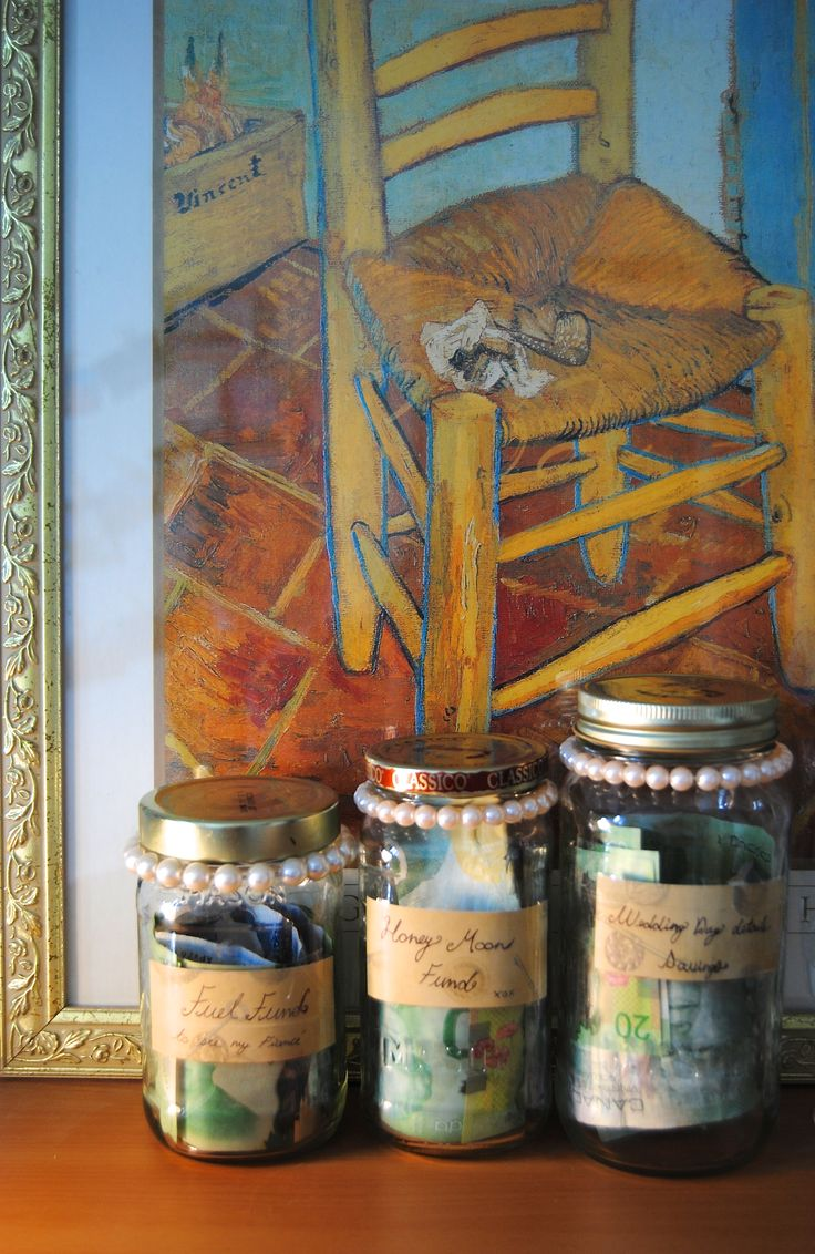 """DIY Wedding Savings in Mason jars! Separate your expenses and watch them grow. Mine are labeled """"Fuel Fund to visit my Fiancé"""", """"Honey Moon Fund"""", and """"Wedding Day Details Savings"""" I love seeing the progress!"""