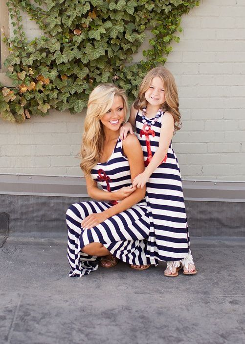 Mom + Me Nautical Sequin Anchor Maxi Dress