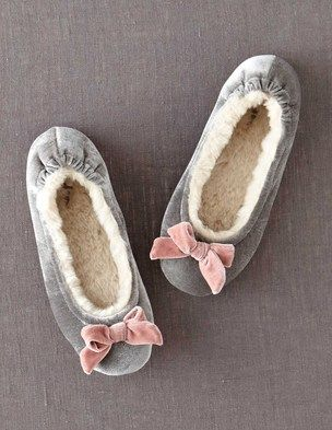 Velvet Slipper - faux fur lining for $48