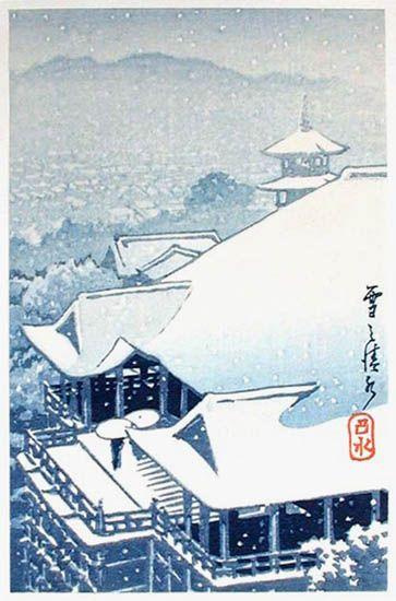 hanga gallery . . . torii gallery: Kiyomizu in snow by Kawase Hasui