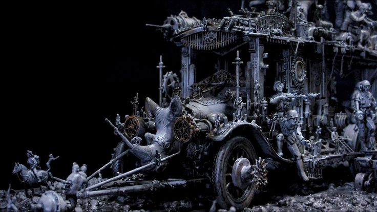 Kris Kuksi Art Sculptures dark sci-fi steampunk l wallpaper | 1600x900 | 67653 | WallpaperUP