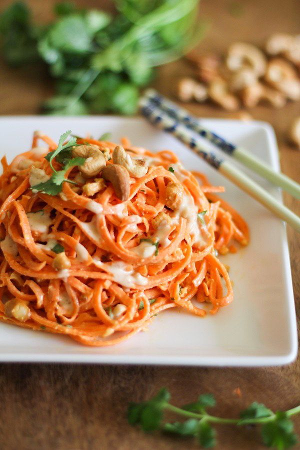 Raw Carrot Pasta with Ginger-Lime Peanut Sauce | 19 Healthy And Delicious Ways To Use Your Spiralizer