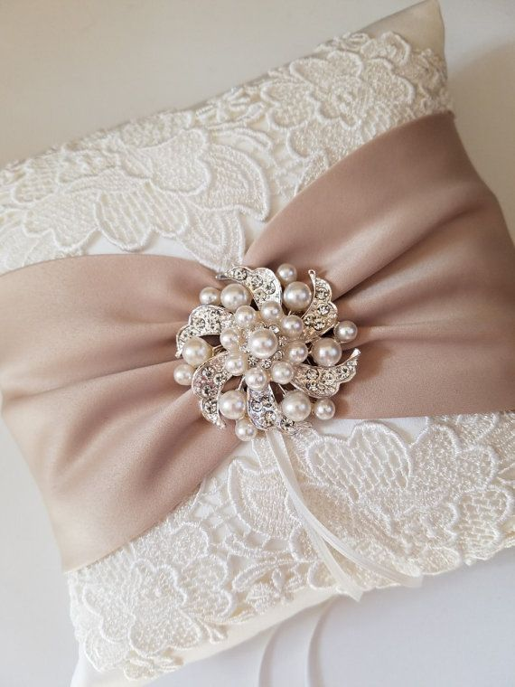 Champagne Pillow Ivory Pillow Venise Lace Pillow by JLWeddings