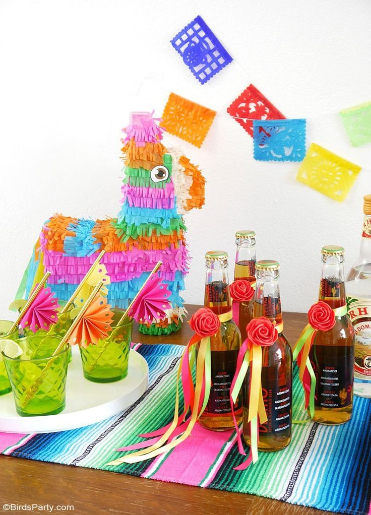 A Colorful Cinco de Mayo Mexican Fiesta - with DIY decorations, printables, food, desserts and a drinks station Mojito bar for birthdays or weddings too! by BirdsParty.com @BirdsParty