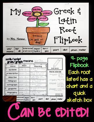 This Greek and Latin Root Flipbook includes 14 Greek and Latin roots, but can be edited to meet the needs of your students.