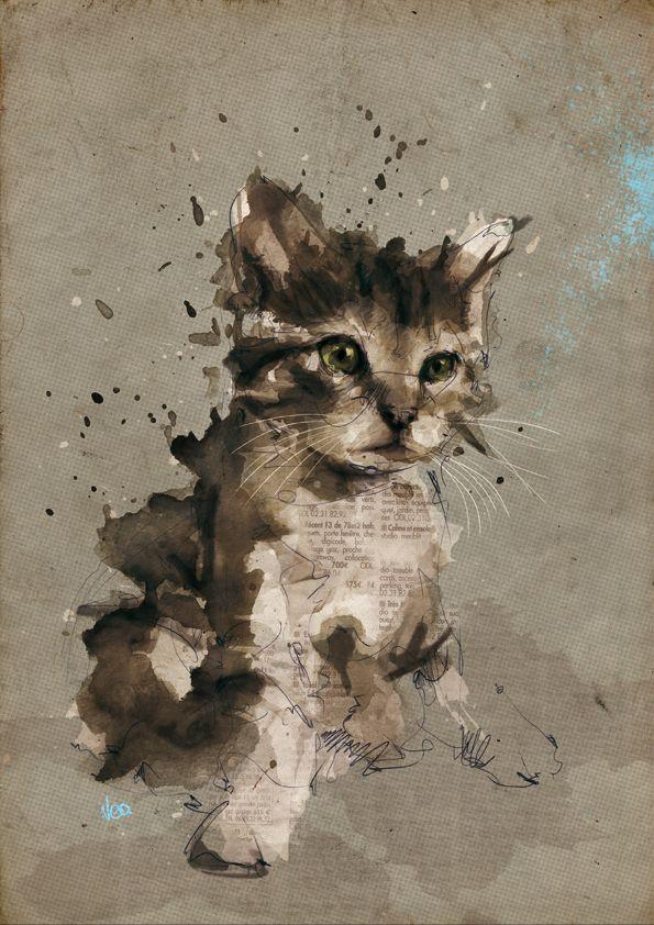 KITTY!: Cat Art, Watercolor, Artists, Kitty Cat, Cat Illustrations, Catart, Florian Nicole, Graphics Design, Kittens