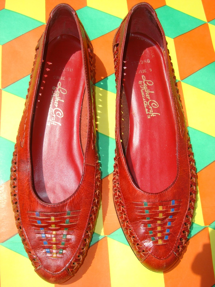 80s vintage red leather huarache shoes huaraches shoes