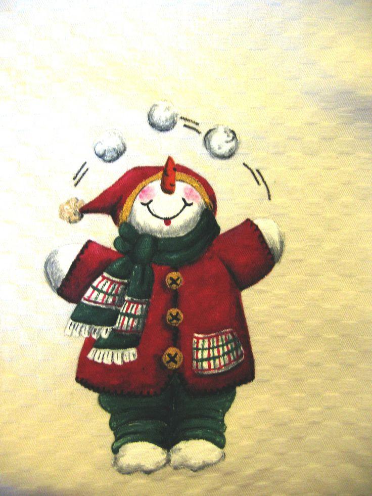 Natale countru painting - pupazzo di neve rosso e palle di neve