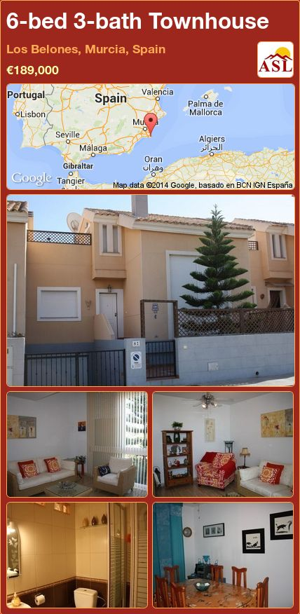 6-bed 3-bath Townhouse in Los Belones, Murcia, Spain ►€189,000 #PropertyForSaleInSpain
