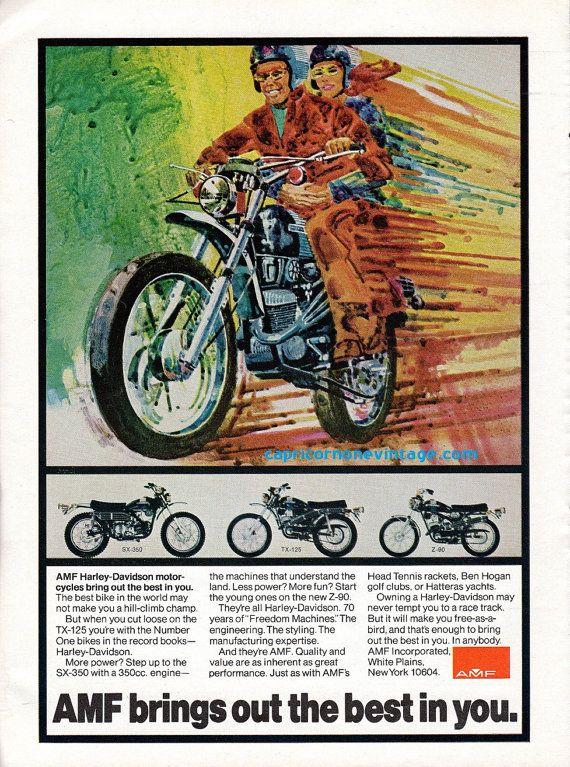 Vintage 1973 AMF Harley Davidson Motorcycle Ad by CapricornOneEphemera on Etsy, $10.00