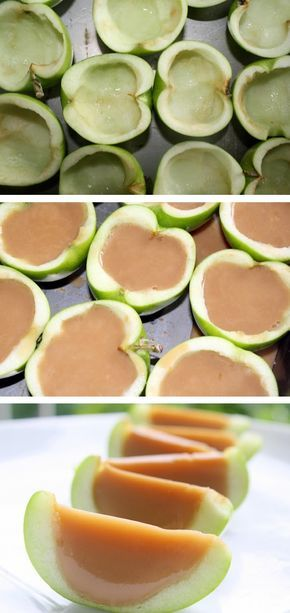 Caramel Apple Jello Shots   Made with real apples! You can make them non-alcoholic, too.