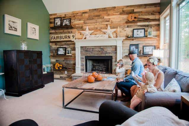 Pallet And Reclaimed Wood Decoration For A Contemporary House Diy Pallet Projec Wood Walls Living Room Barn Wood Walls Living Room Floating Shelves Living Room