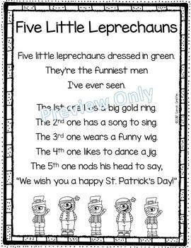 Five Little Leprechauns | St. Patrick's Day | Poems for Kids | printable | poem of the week | poetry notebooks | kindergarten | first grade | second grade