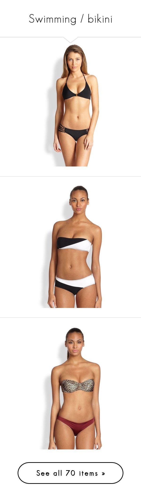 """Swimming / bikini"" by ceciliajoly-1 ❤ liked on Polyvore featuring swimwear, bikinis, bikini tops, apparel & accessories, black, chain bikinis, gold bikini, gold chain bikini, anchor bikini and halter neck bikini"