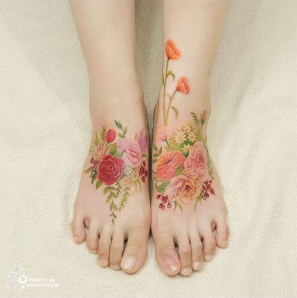 artist Silo uses soft lines, bright, springtime colors, and a beautiful floral aesthetic to give her clients a completely different type of tattoo.